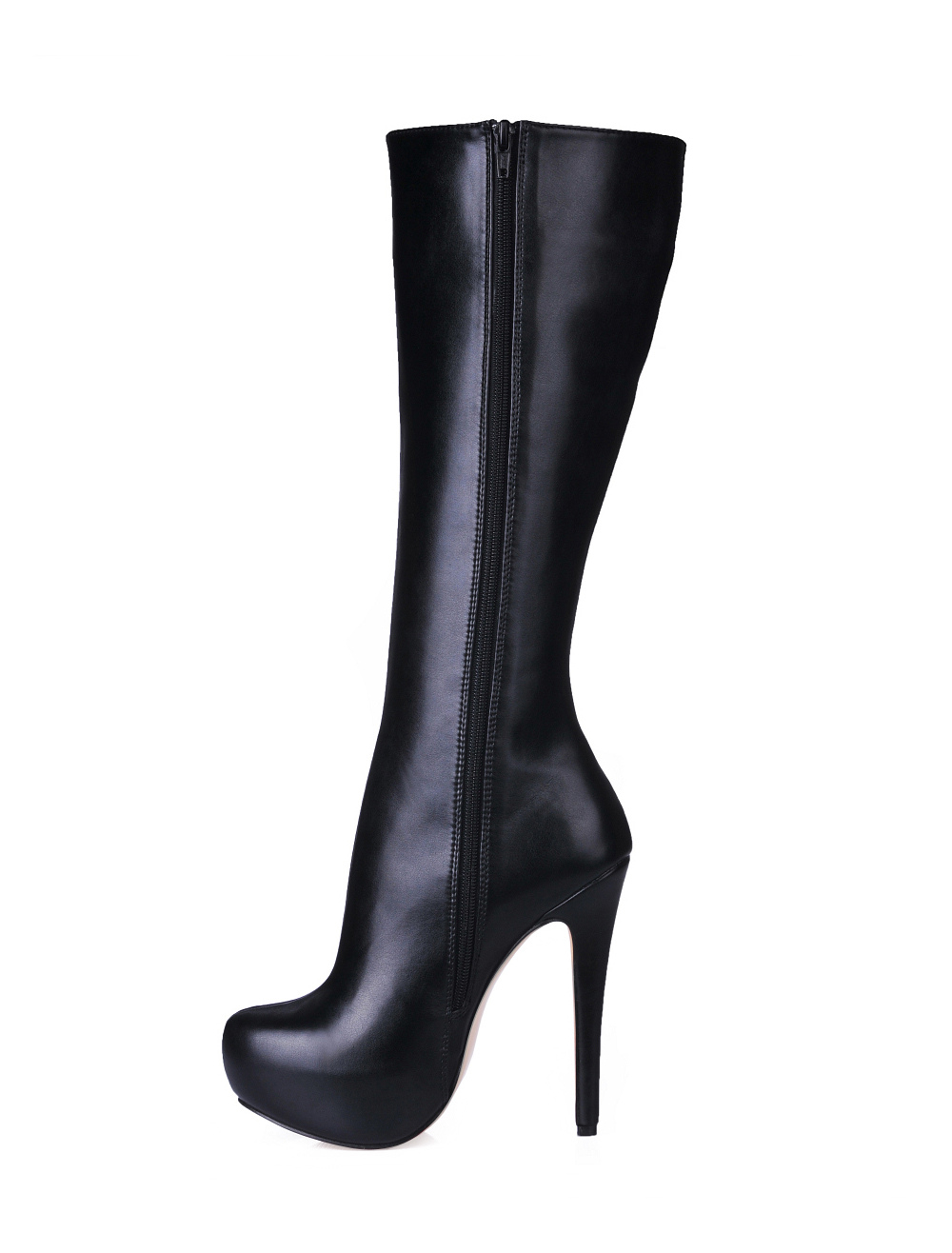 Black High Heel Knee Length Boots
