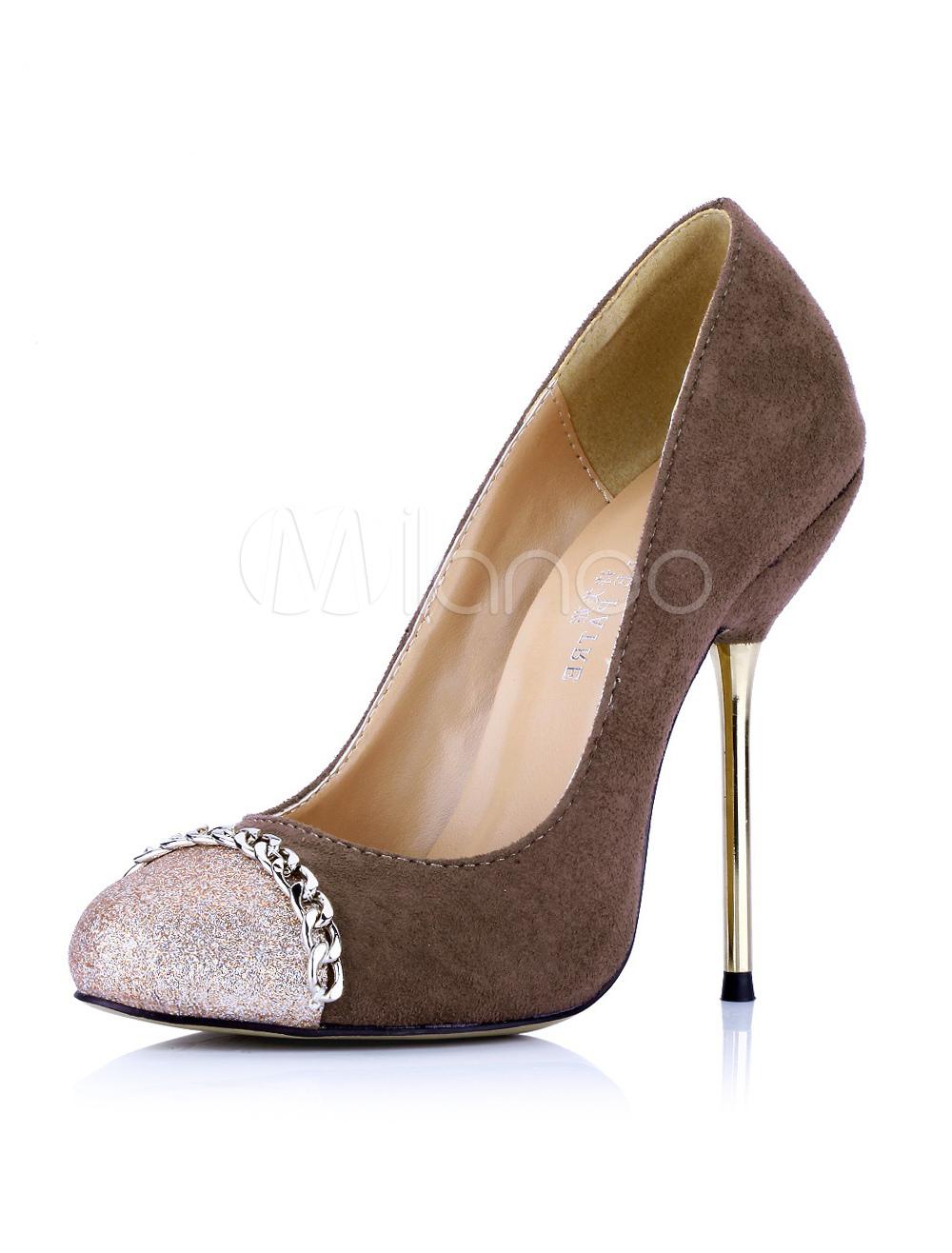 elegant color blocking brown stiletto high heels for women. Black Bedroom Furniture Sets. Home Design Ideas