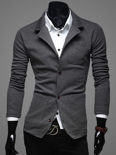 Buy Blazer For Men Turndown Collar Button Cotton Blazer Jacket for $28.49 in Milanoo store