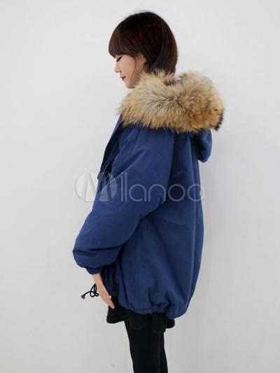 Manteau a capuche fourure femme