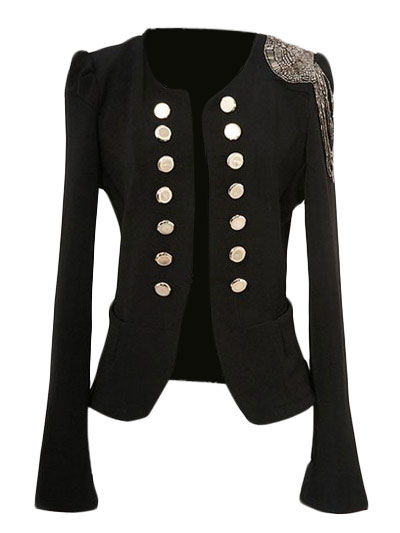 Black Double Breasted Jacket Fringe Chain Link Polyester Women's Jacket Cheap clothes, free shipping worldwide