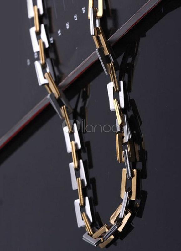 collier acier bicolore homme