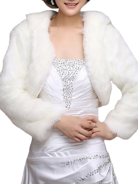 White Faux Fur Long Sleeve Cape Coat
