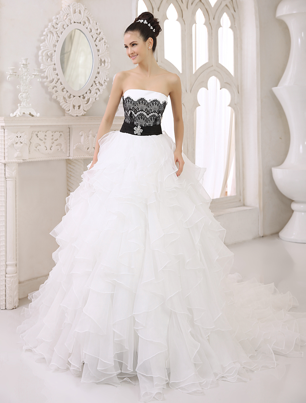 Buy Ivory Tulle A-line Brides Wedding Dress With Black Lace Bodice And Chapel Train Milanoo for $229.99 in Milanoo store