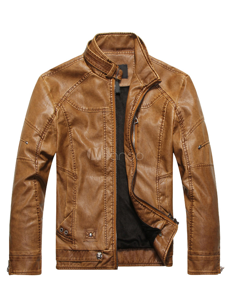 Buy Men Leather Jacket Stand Collar Metal Buckle Zipper 2018 Spring Moto Jacket for $55.79 in Milanoo store