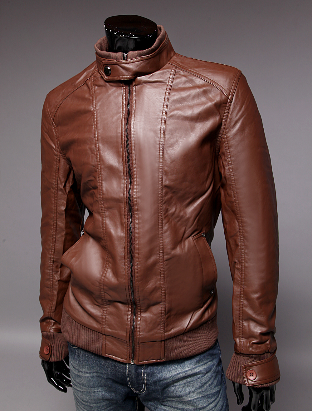 1aeb6a22c Stylish PU Leather Stand Collar Men's Thick Leather Jacket