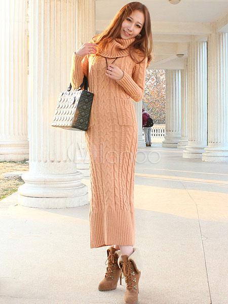 1ce4f4fa3c6 Robe longue laine femme