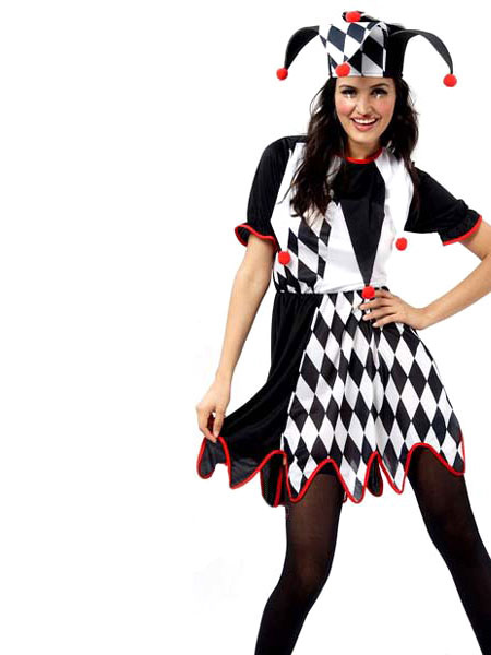 Halloween Clown Kostum Mit Hut Und Kleid Schwarz Weiss Zirkus