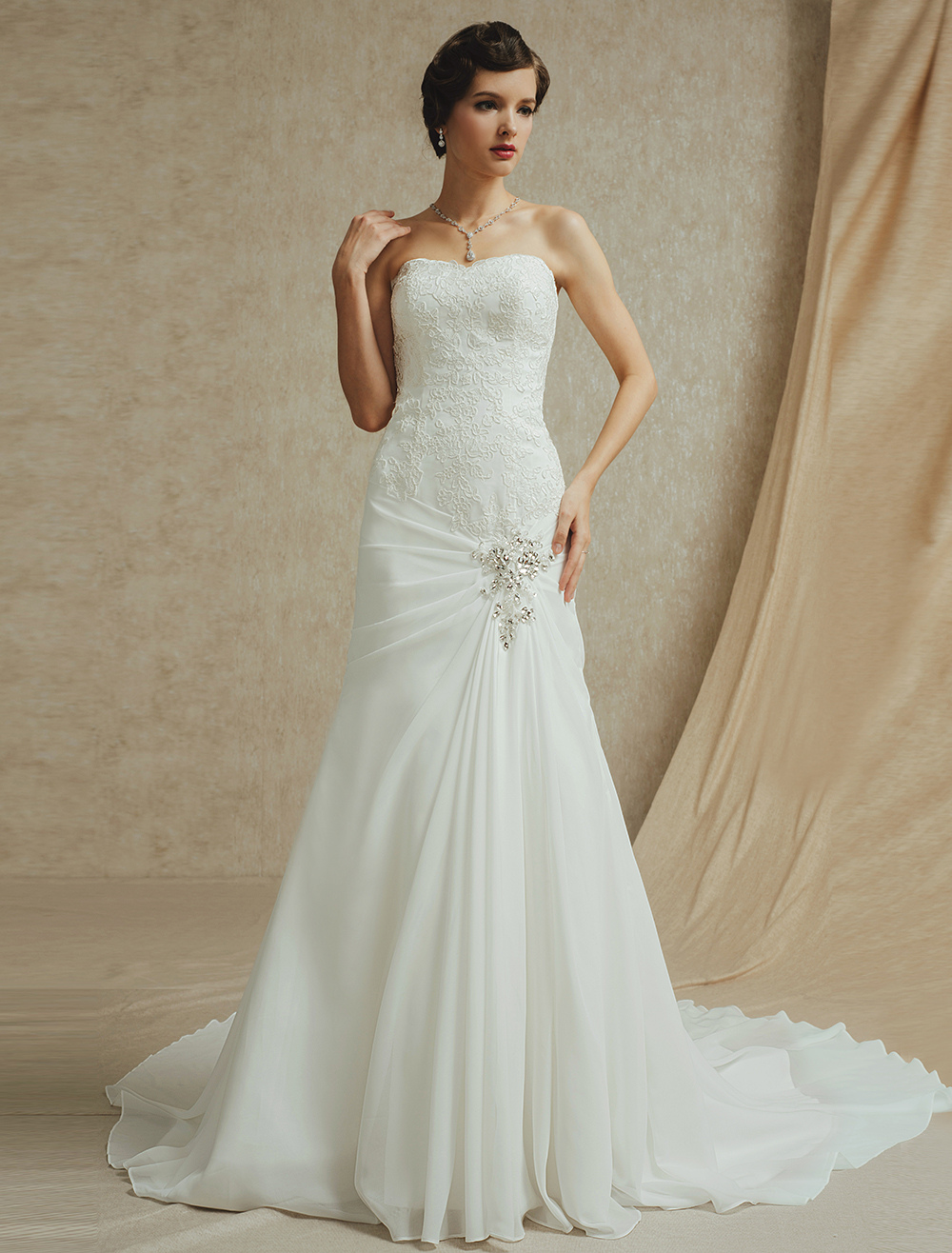 Court Train Strapless Wedding Gown with Lace