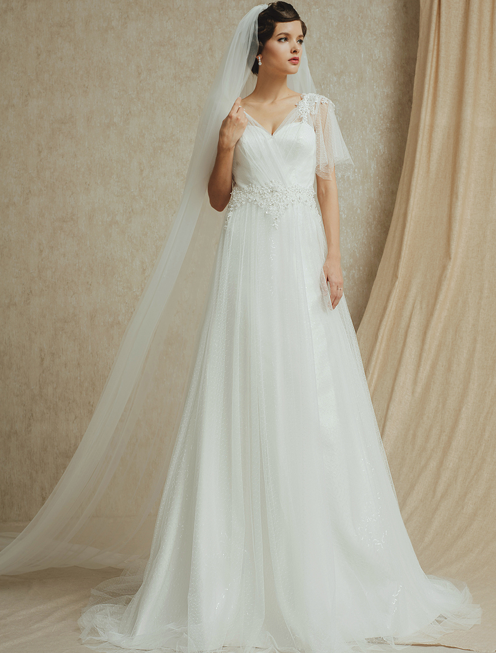 Ivory Wedding Dress with V-Neck Sequined Lace ( Veil & Accessories are Excluded )