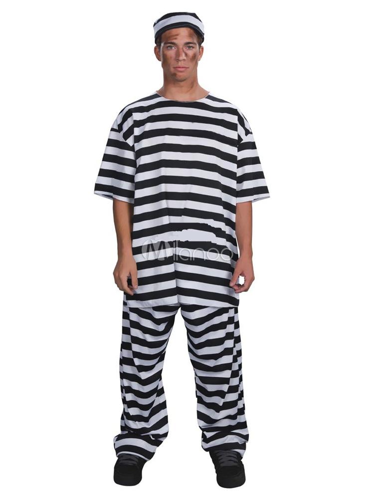 Prisonnier de Halloween Costume unisexe Costume rayé Cosplay - Costumeslive.com
