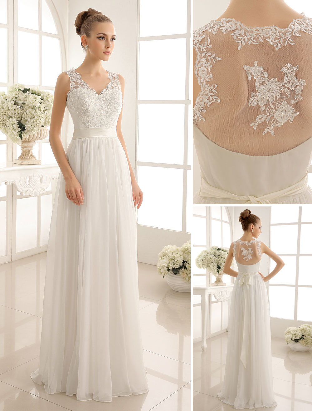 Ivory Wedding Dress Lace Sash Bow Sequins Wedding Gown Milanoo