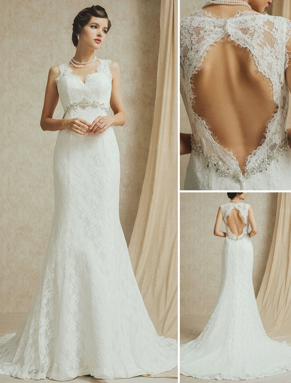 Ivory V-neck Court Train Wedding Gown with Lace ( Veil & Accessories are Excluded )
