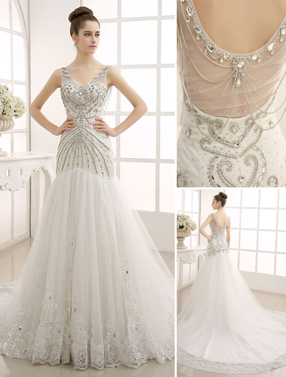 V-Neck Backless Mermaid Wedding Gown with Netting Milanoo