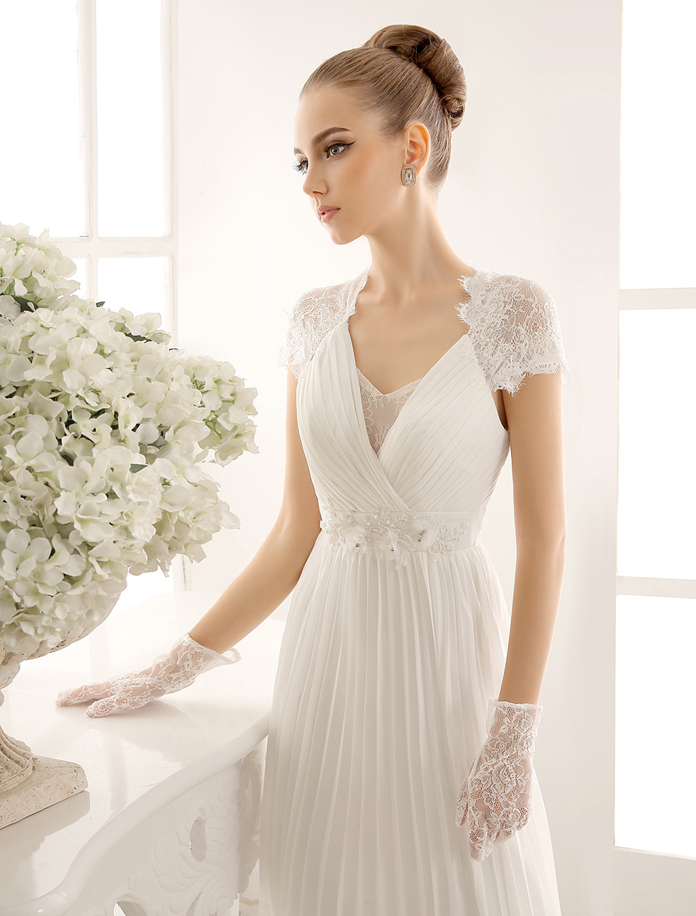 V-Neck Wedding Dress With Lace In Floor Length Milanoo