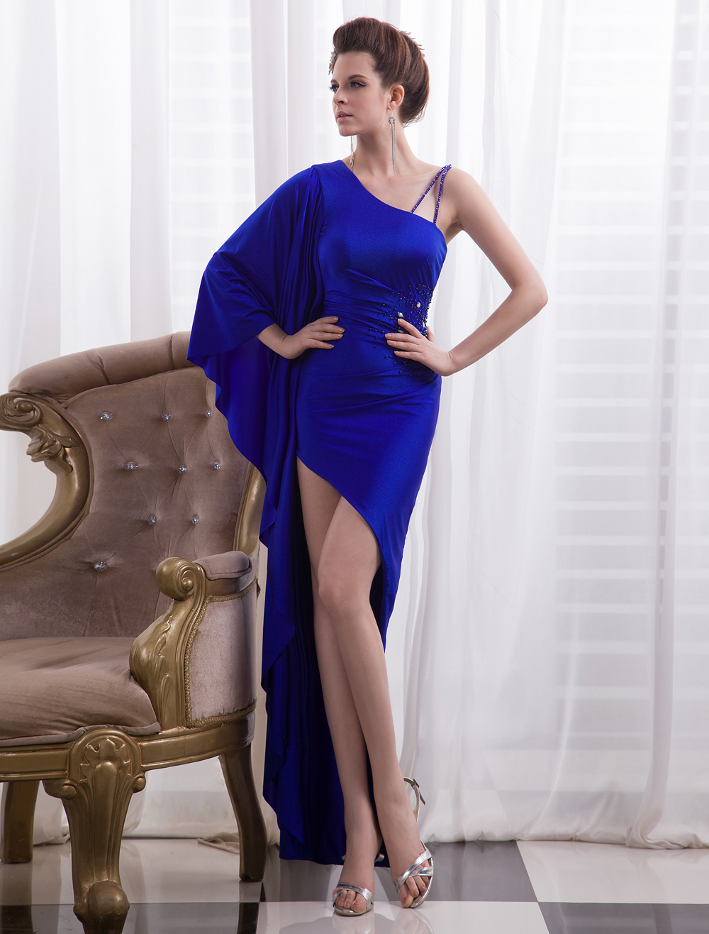 Royal Blue Beading Sheath Asymetrical Evening Dress (Brassiere padding is not included) Milanoo