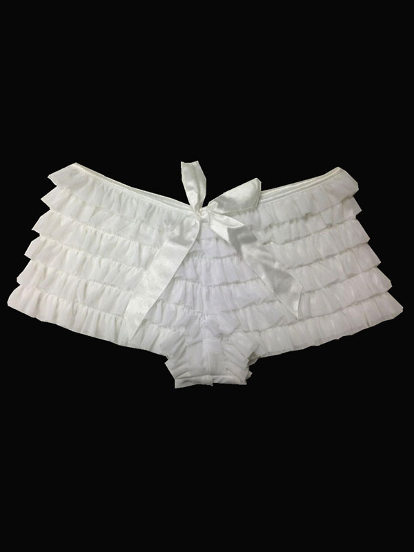 White Ruffled Boyshorts Cheap clothes, free shipping worldwide