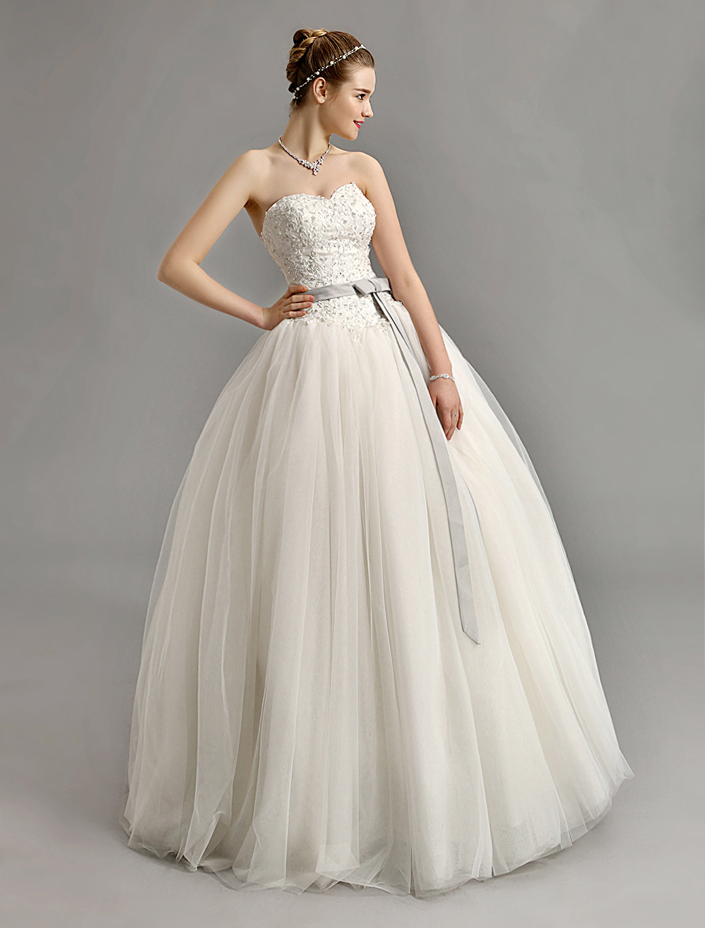 Sweetheart Ball Gown Wedding Dress with Colored Sash Milanoo ...