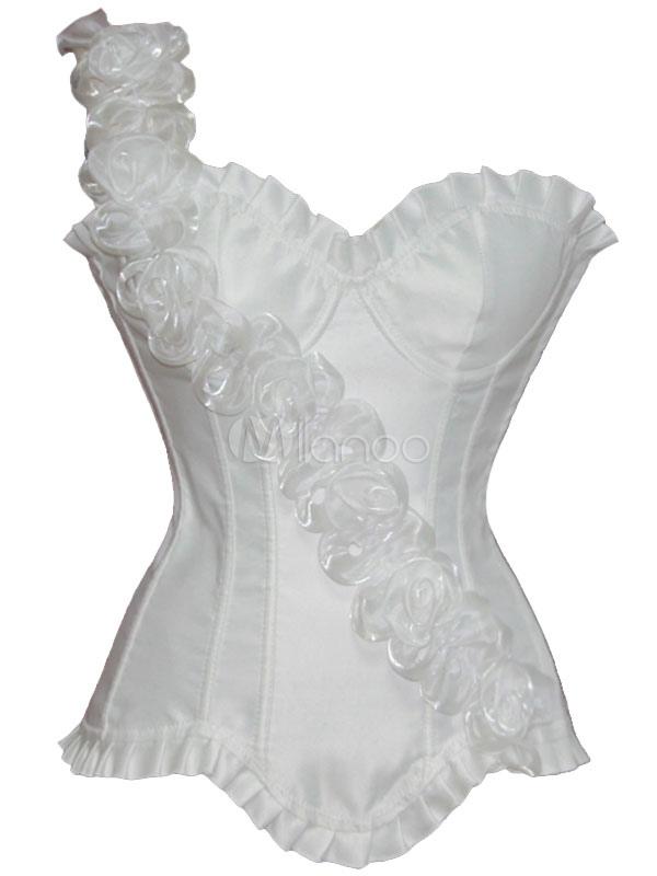 6ae090c9b9d ... High Cost-effective One-Shoulder Flower Ruffled Trim Satin Plastic  Boning Womens Corsets- ...