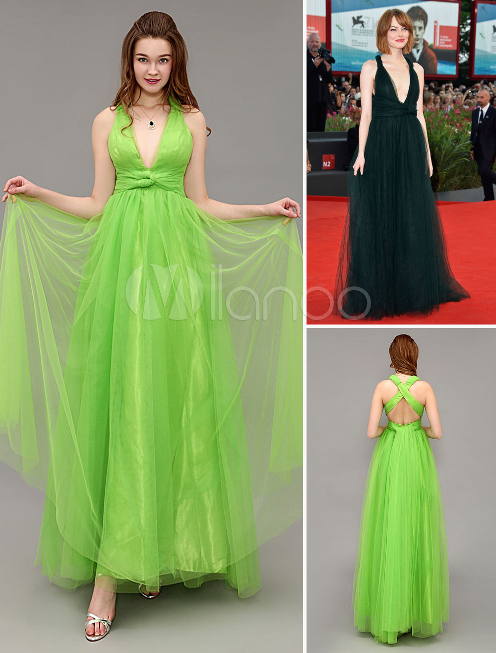 Tulle Celebrity Dress Neon Green Backless V Neck Sleeveless A Line Red Carpet Dress With Brush Train