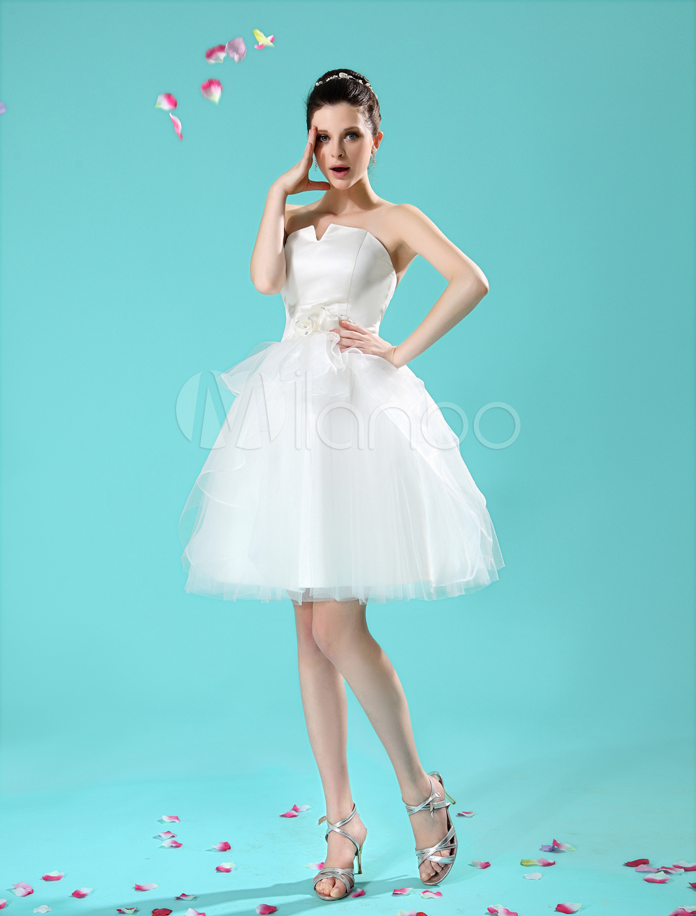 Short Wedding Dresses Champagne Organza Bridal Dress Flowers ...