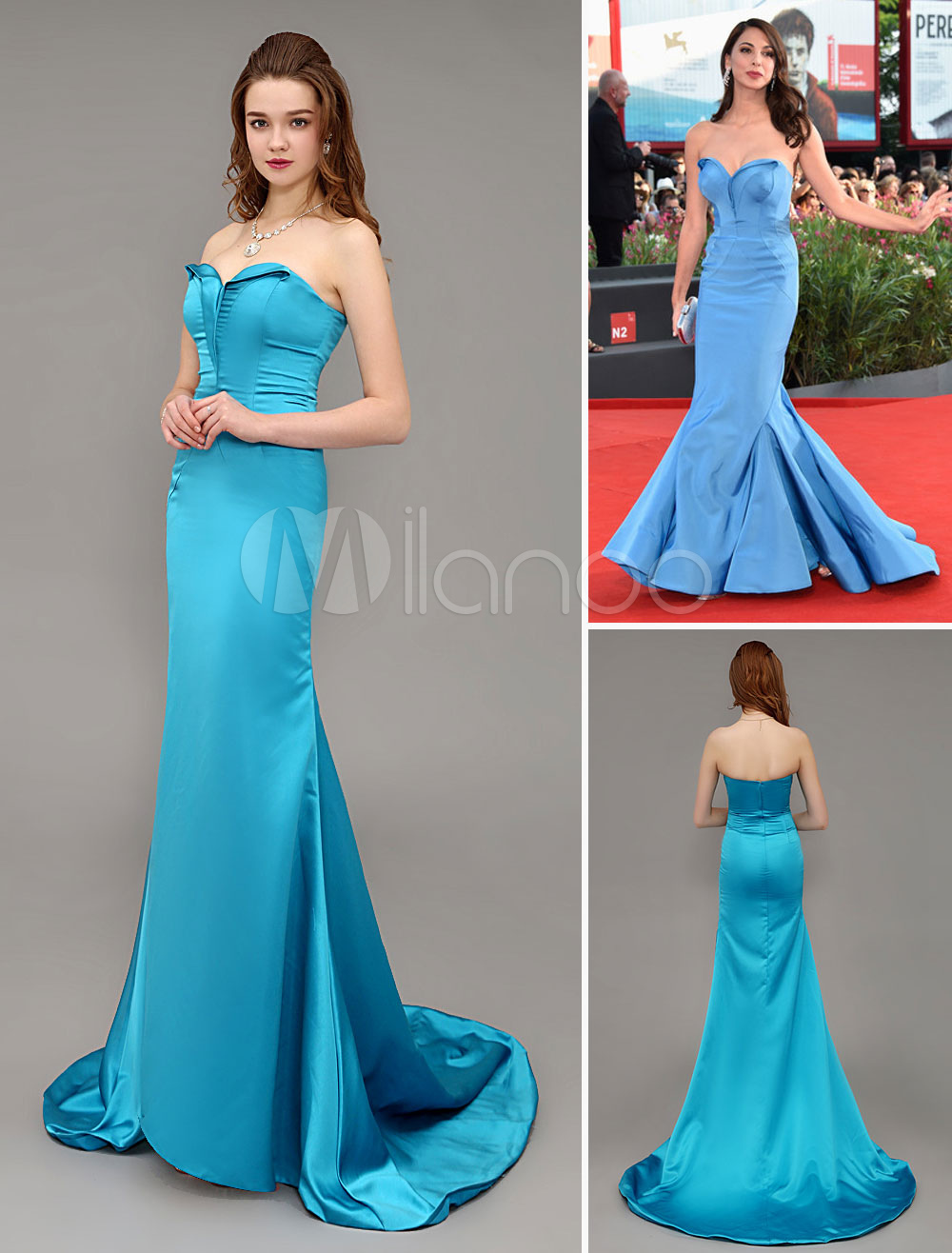 Sweetheart Celebrity Dress Turquoise Mermaid Satin Lace Up Red ...