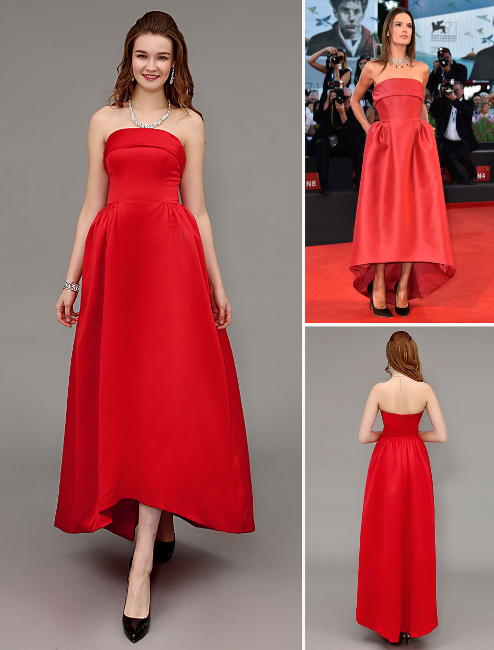 Red Strapless Floor-Length Celebrity Dress with A-Line Satin