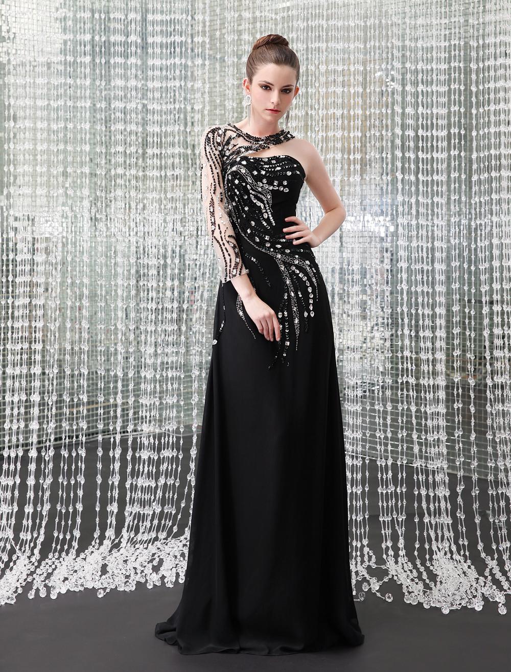 Sexy Black Chiffon Beading Jewel Neck Women's Evening Dress Milanoo