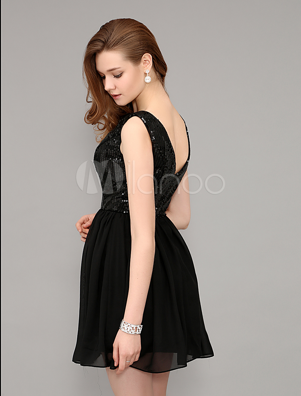 Short Deep V Back Sequined Little Black Dress - Milanoo.com 8c0c58bd7