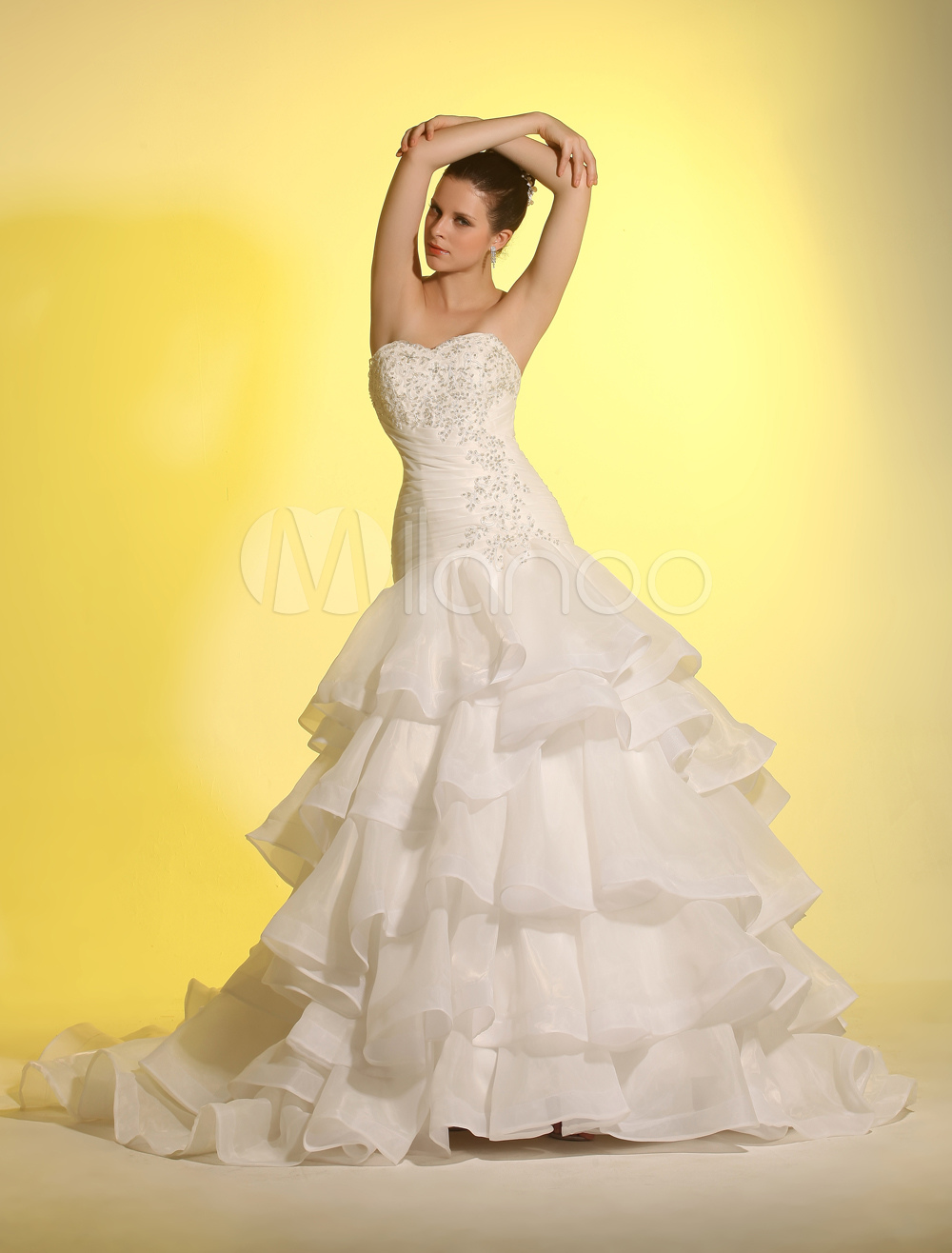 Sweep Ball Gown Sweetheart Ivory Bridal Wedding Gown Milanoo