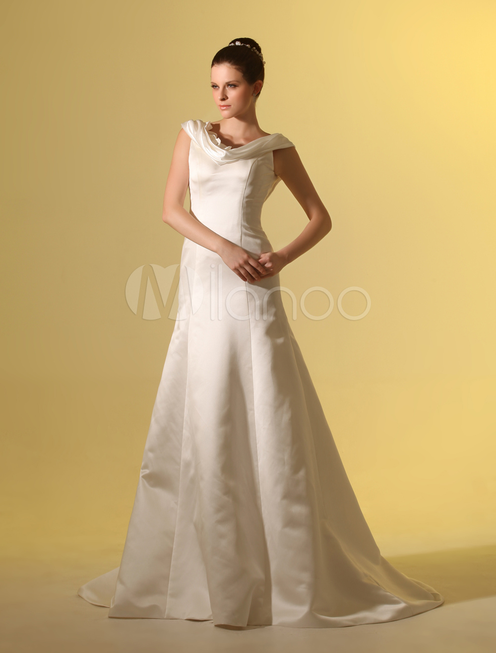 Beautiful Ivory A-line Cowl Neck Flower Satin Wedding Dress For ...
