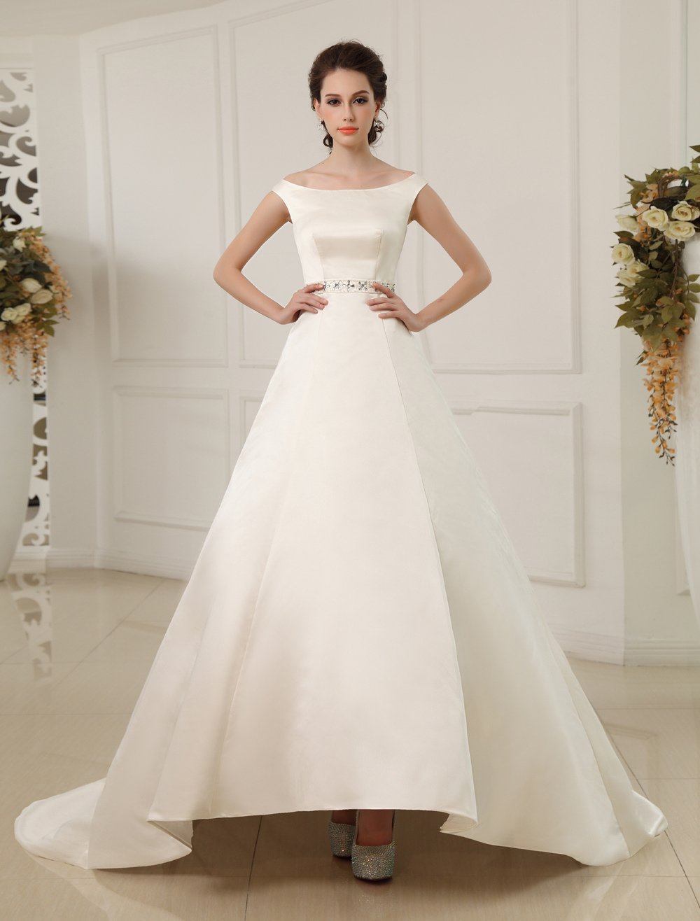 Court Train A-line Off-The-Shoulder Beaded Ivory Wedding Dress with Bateau Neck  Milanoo
