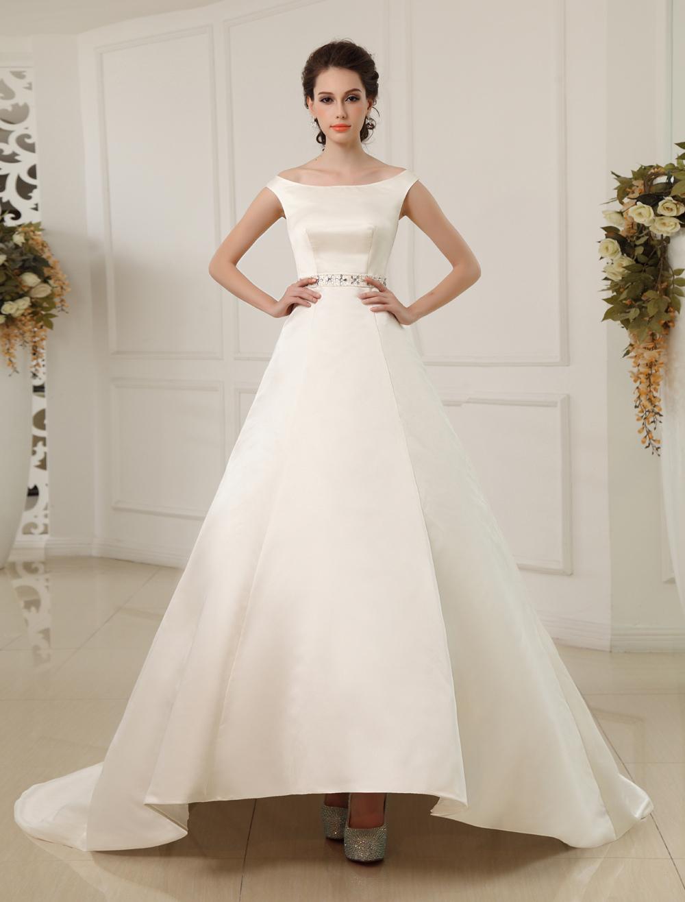 2d8e0afd61 Court Train A-line Off-The-Shoulder Beaded Ivory Wedding Dress with Bateau  Neck Milanoo - Milanoo.com