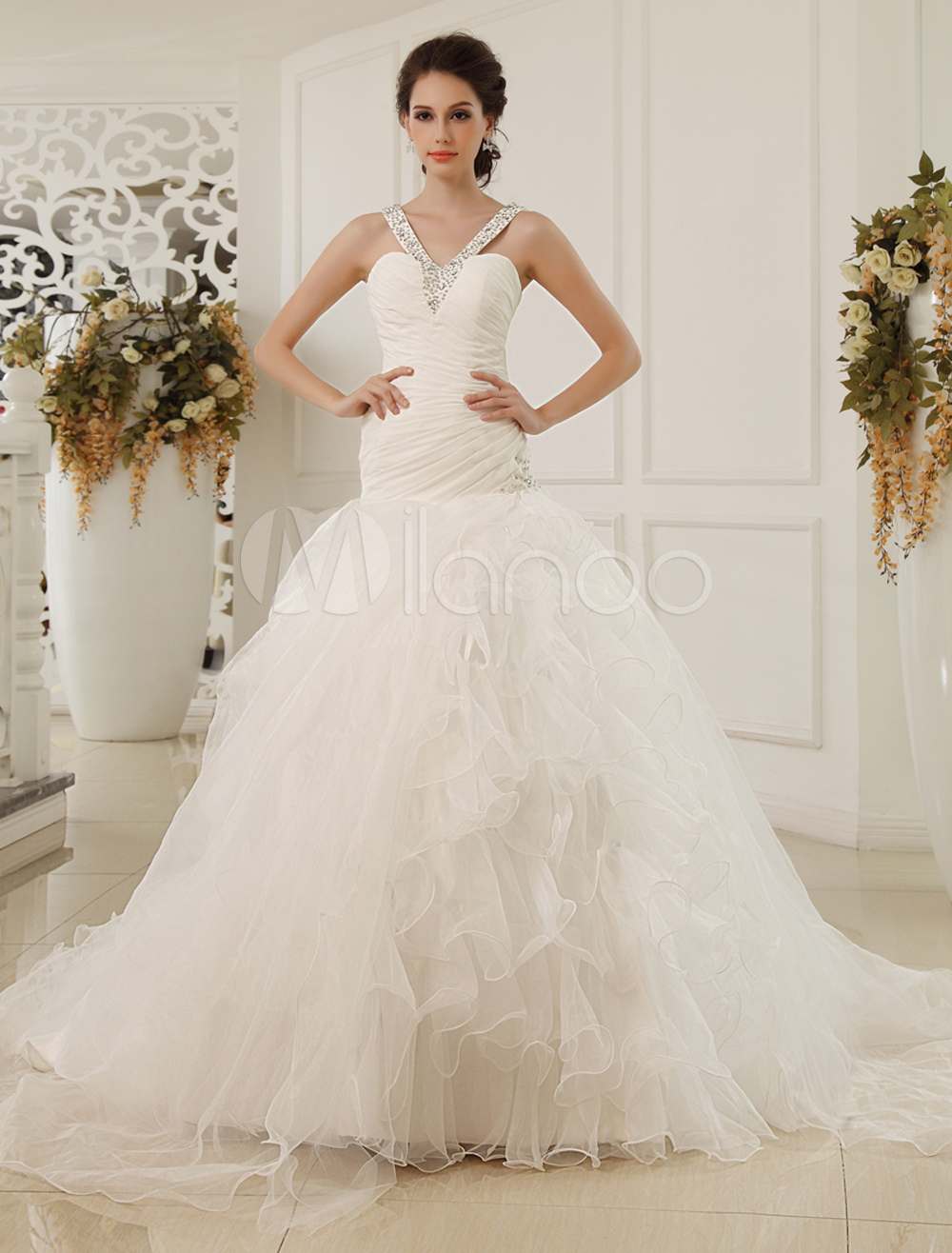 Buy Court Train A-line Sweetheart Neck Sequin Chiffon Ivory Wedding Dress Milanoo for $224.99 in Milanoo store