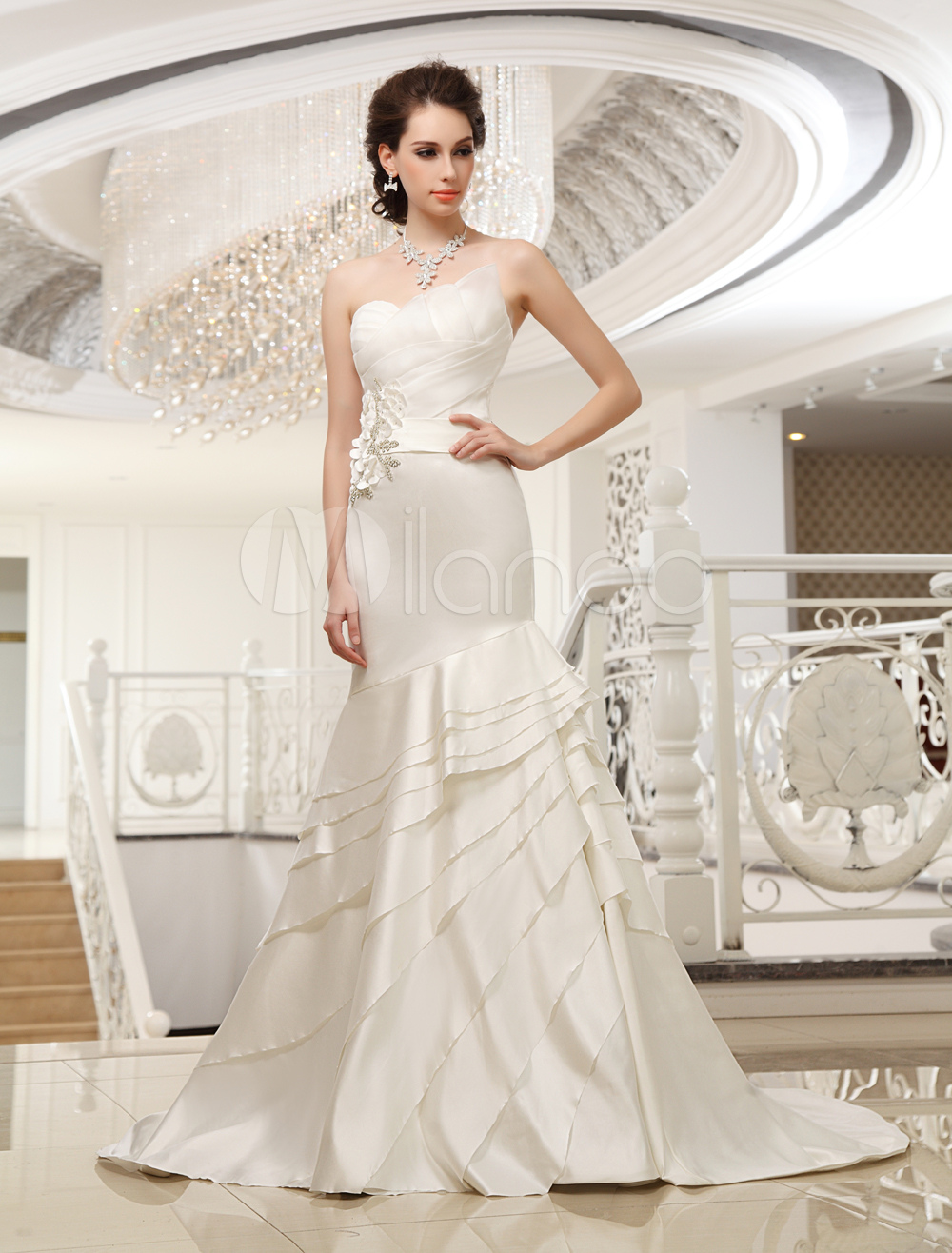 Buy Court Train Ivory Strapless Mermaid Strapless Wedding Dress For Bride with Tiered Milanoo for $199.99 in Milanoo store