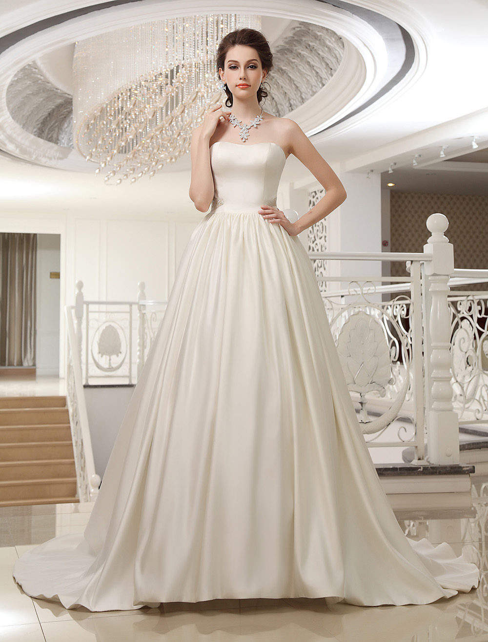 Ivory Sweetheart Neck A-line Strapless Beading Bridal Wedding Dress  Milanoo