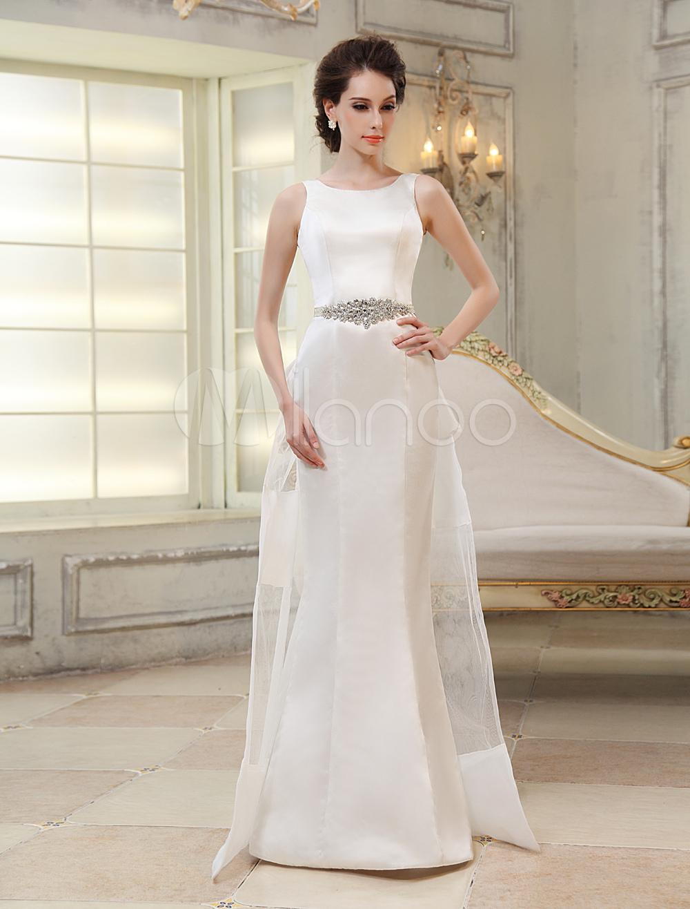 Sweep Ivory Jewel Neck Sheath Bridal Wedding Gown with Bow  Milanoo