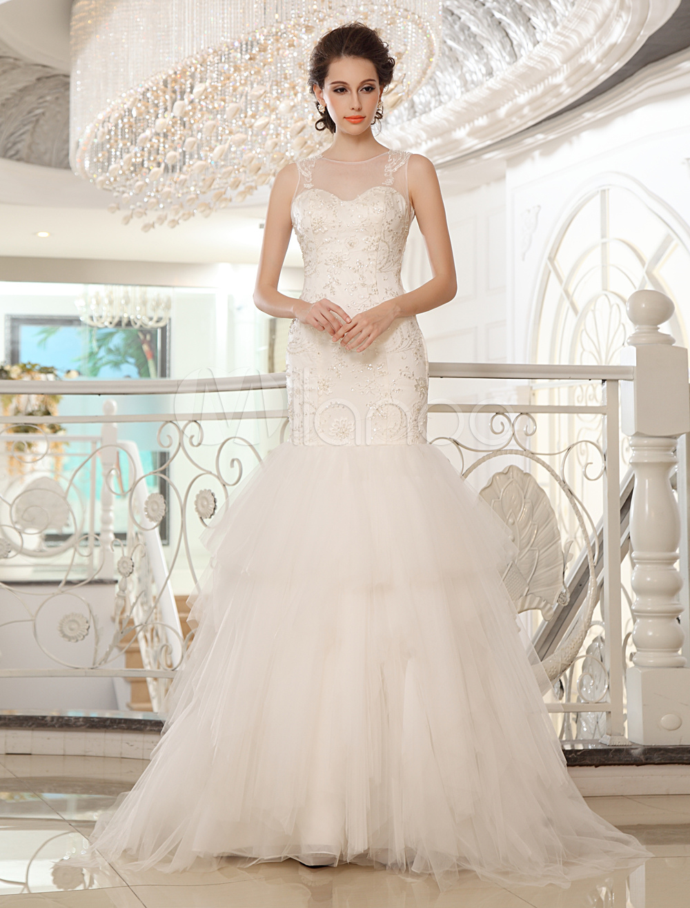 Sweep Ivory Mermaid Jewel Bridal Wedding Dress with Sequin Milanoo
