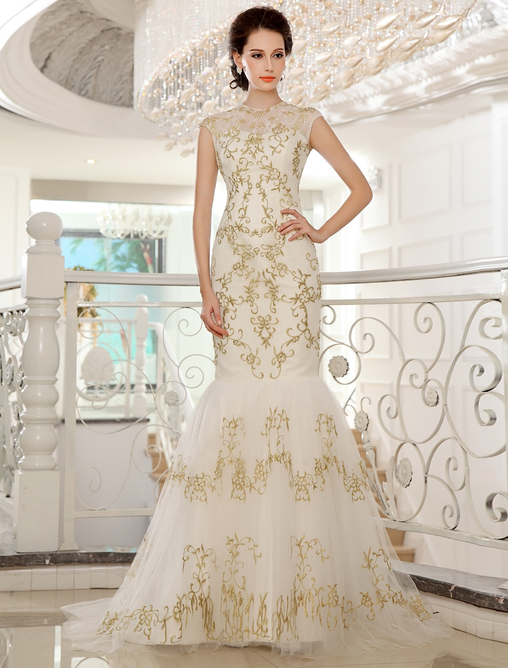 Sweep Jewel Neck Mermaid Embroidered Ivory Bridal Wedding Dress Milanoo