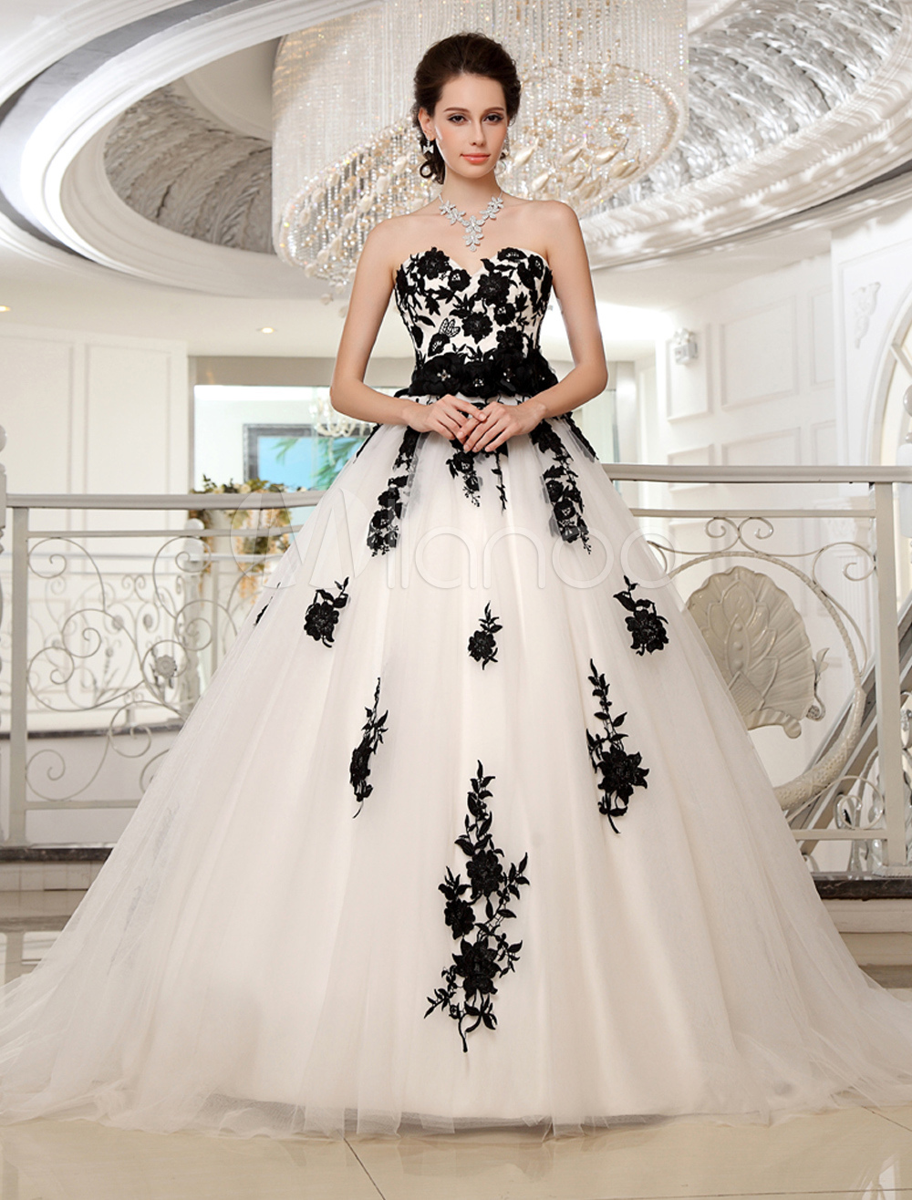 b24125b9a643 Wedding Dresses Strapless Black Bridal Gown Lace Applique Flowers Sash  Beaded Court Train Ivory Tulle Bridal Dress Milanoo - Milanoo.com