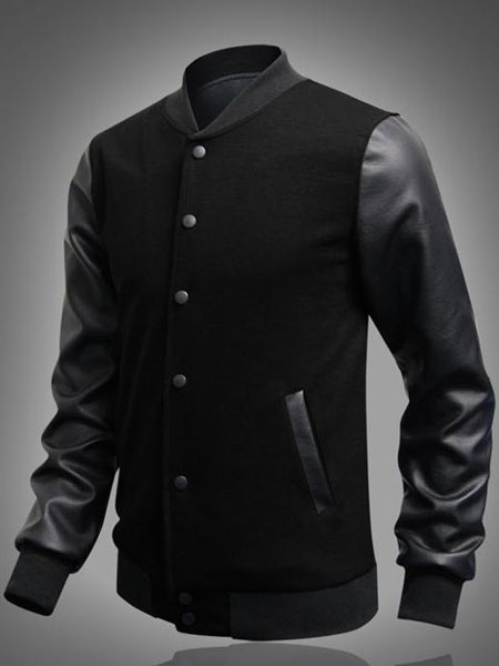 Buy Black Bomber Jacket Men Jacket Stand Collar Long Sleeve Sport Jacket for $24.29 in Milanoo store