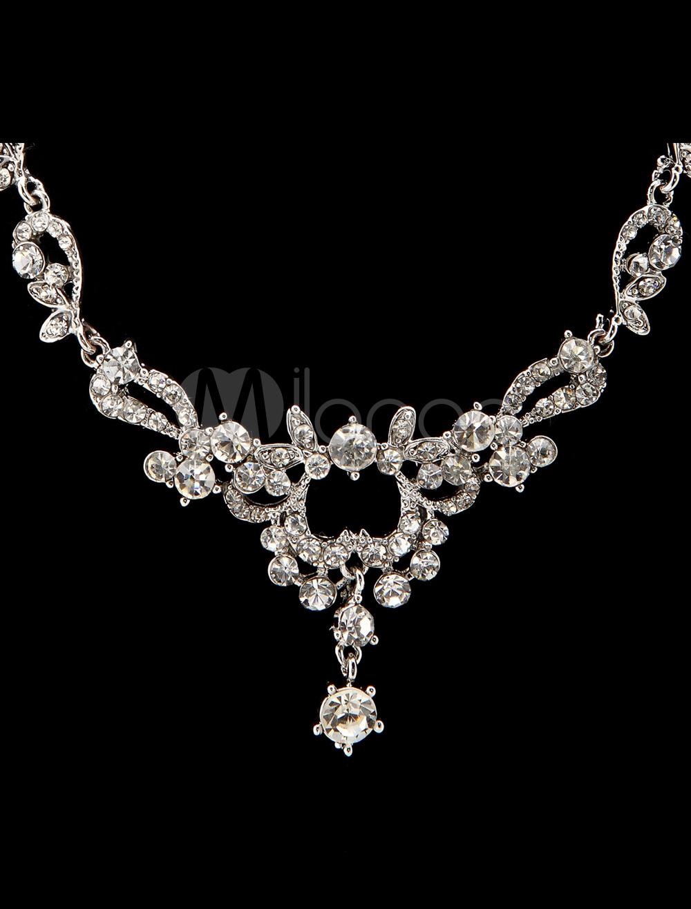 silver metal rhinestone jewelry set for wedding