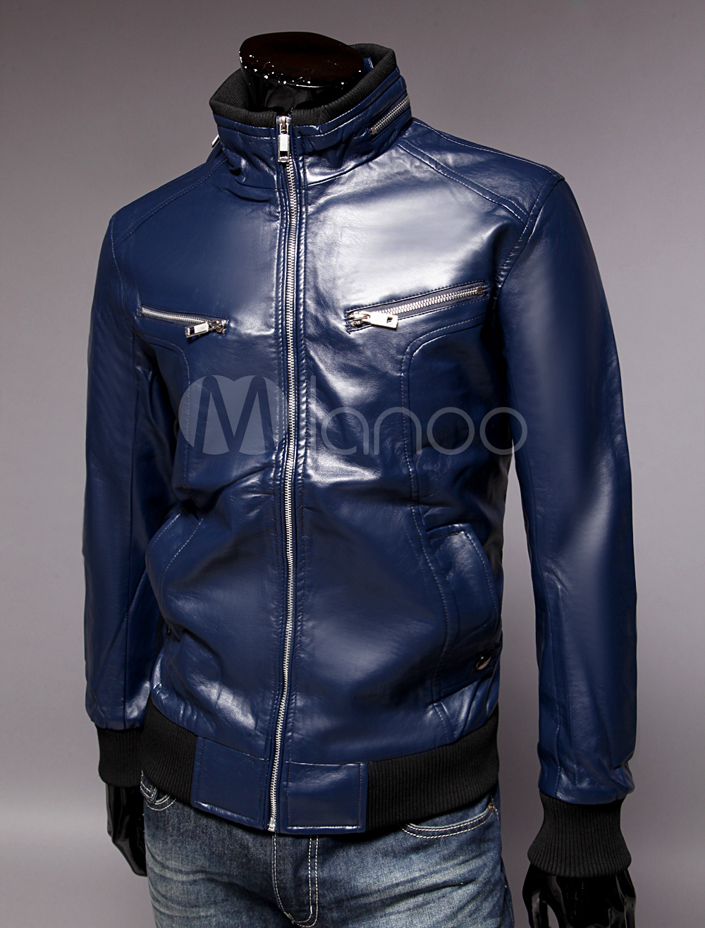 Buy Men Leather Jacket Blue Casual Jacket Stand Collar Long Sleeve Spring Jacket for $43.69 in Milanoo store