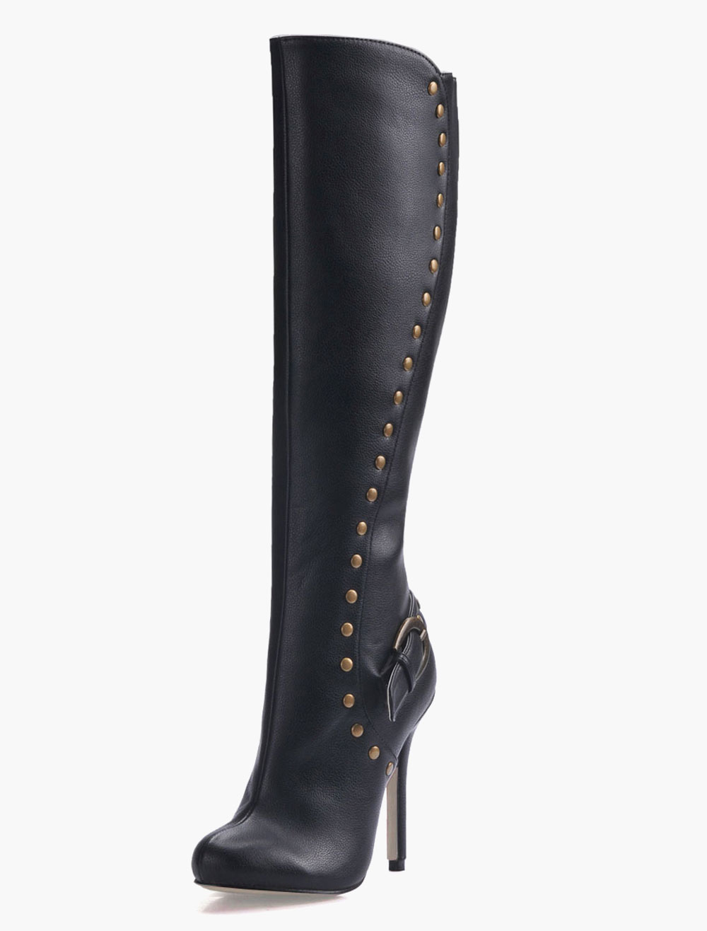 Black Pointed Toe Studded PU Leather Knee Length Boots for Women