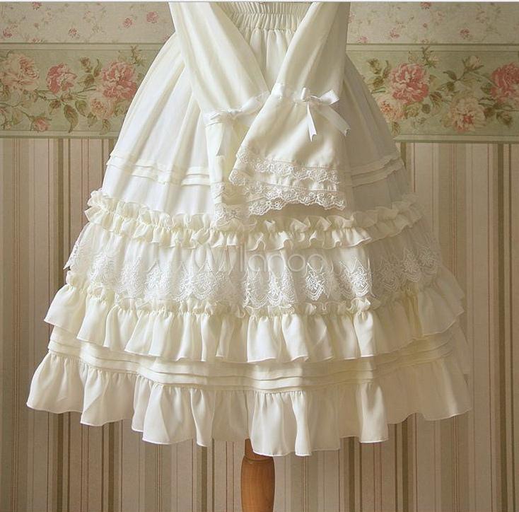 Pure Color Sweet Chiffon Loltia Skirt Lace Trim Ruffles