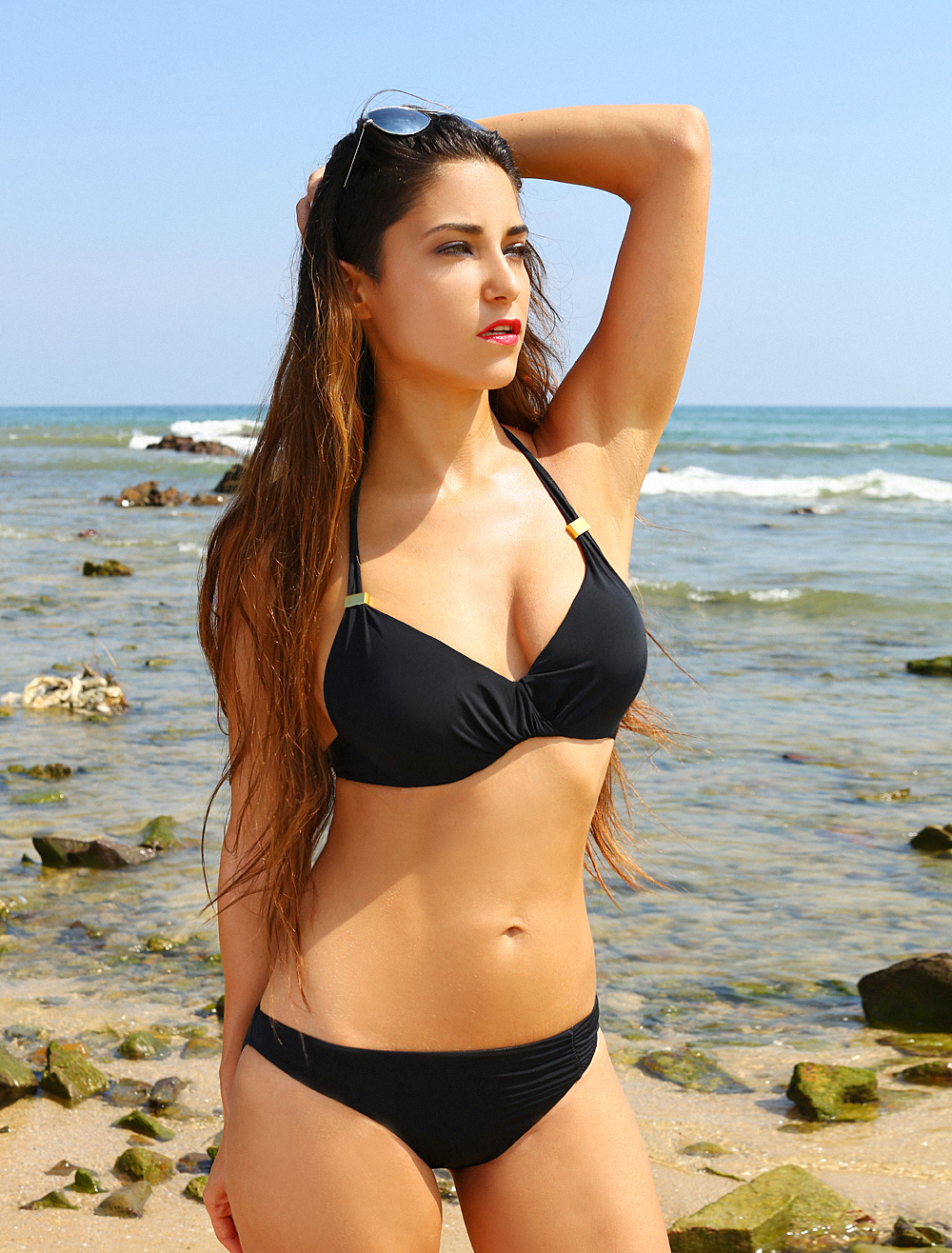 ... Black Twisted Halter Beautiful Lycra Spandex Womens Bikini Swimsuit  -No.3 ... bb41504eaf09