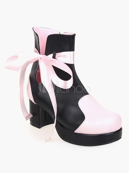 247440e3624 Black Lolita Booties Platform Ribbon Lolita Ankle Boots