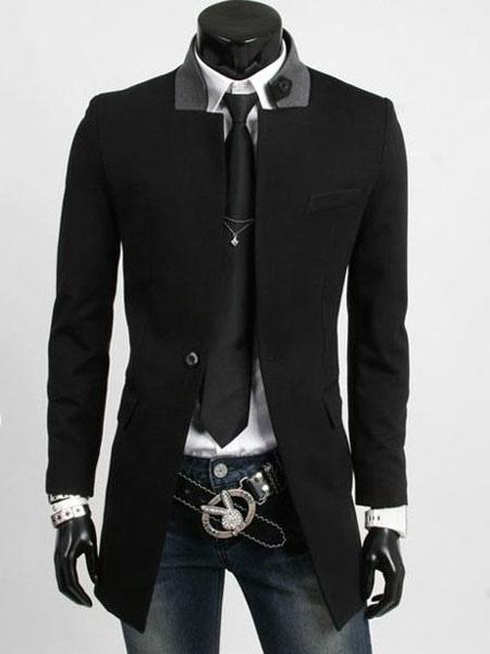 Black Trench Coat Men Coat Stand Collar Long Sleeve Slim Fit Winter