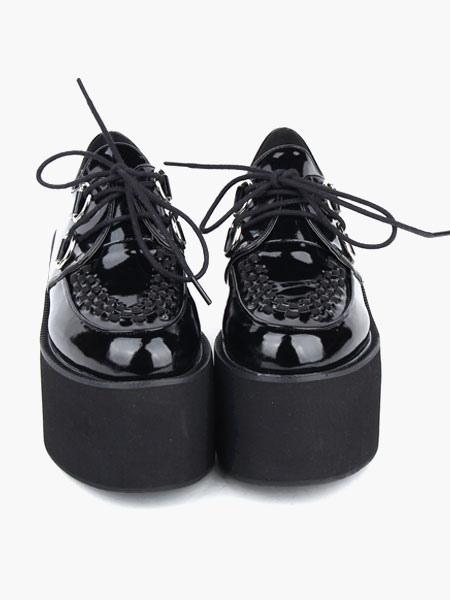Lovely Black Round Toe PU Leather Street Wear Platform Lolita Shoes