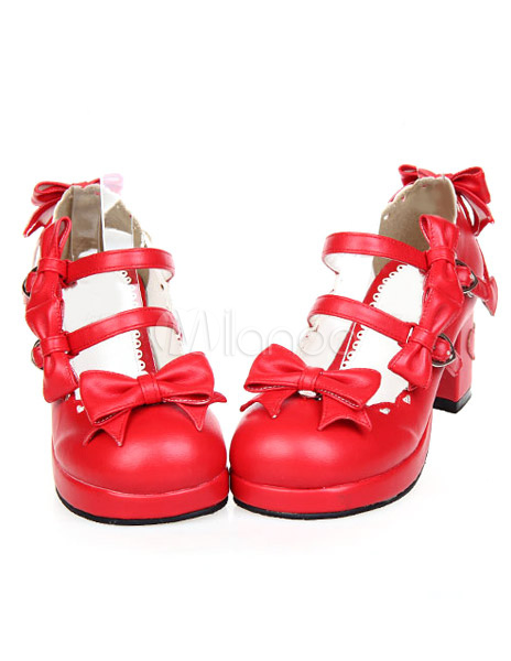 Sweet Chunky Heels Lolita Shoes Platform Straps Bows Round Buckles